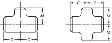 ASME B16.9 Reducing Tees and Cross Drawing Dimension