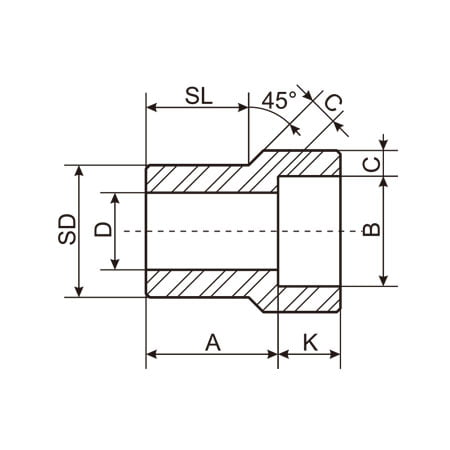 Socket Weld Reducing Inserts Type 1 Drawing