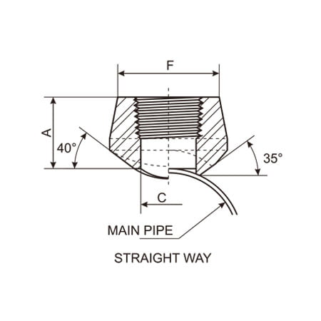 Threaded Outlet, Threadolet Drawing Straight Way